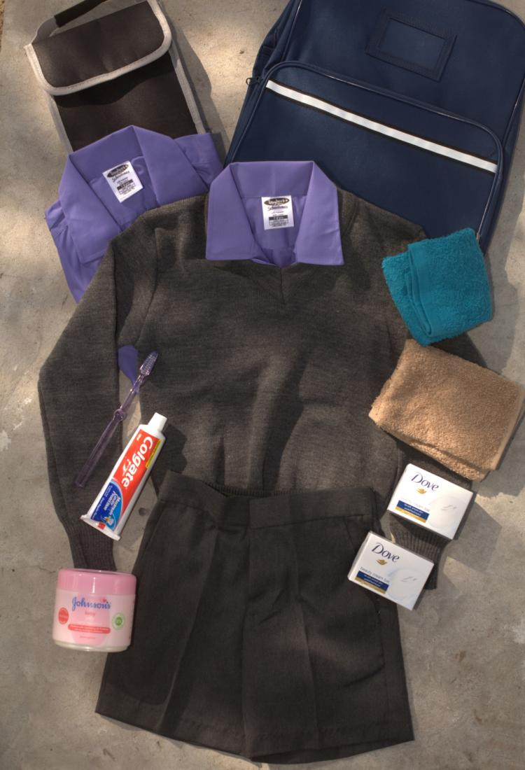 Uniform, backpack, toilet bag and toiletries for Grade 4 learner